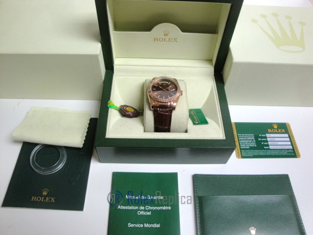 rolex replica daydate rose gold chocolate strip leather orologio replica copia imitazione