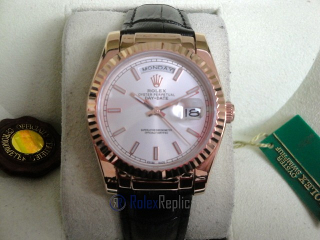 rolex replica daydate rose gold argentèè strip leather orologio replica copia imitazione
