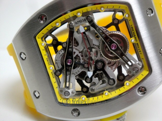 richard mille replica RM038 bubba watson skeletron yellow limited edition strip rubber-b
