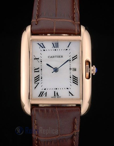 Cartier replica tank americaine rose gold strip leather brown orologio imitazione perfetta