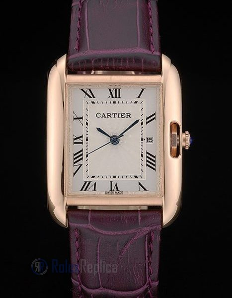 Cartier replica tank americaine rose gold strip leather cherry orologio imitazione perfetta