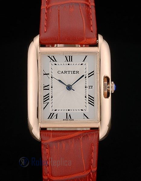 Cartier replica tank americaine rose gold strip leather red orologio imitazione perfetta