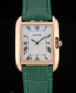 Cartier replica tank americaine rose gold strip leather green orologio imitazione perfetta