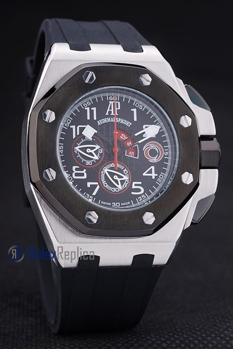 audemars piguet replica chrono offshore acciaio alinghi team black strip rubber imitazione copia