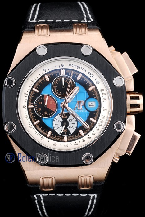 audemars piguet replica chrono offshore rubens barrichello rose gold strip leather imitazione copia