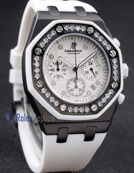 audemars piguet replica chrono offshore acciaio alinghi team lady white strip rubber imitazione copia