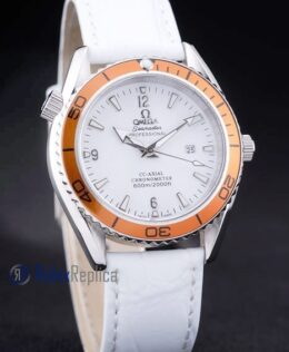 Omega replica seamaster strip leather white dial imitazione copia