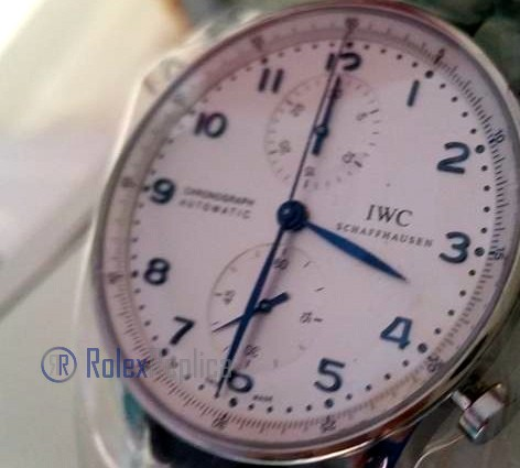 iwc replica portoghese chrono white dial strip leather orologio imitazione
