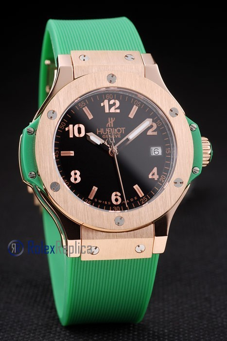 hublot replica big bang rose gold black dial green orologio copia