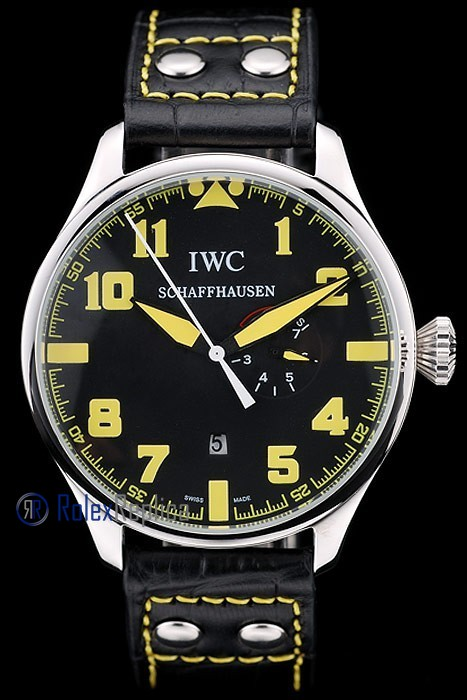 iwc replica 8 days power reserve yellow strip leather orologio imitazione