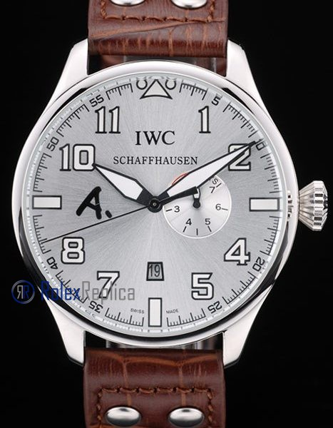 iwc replica 8 days power reserve acciaio argentèè dial strip leather orologio imitazione
