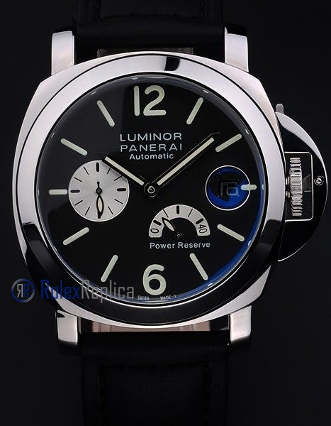 Panerai replica luminor marina power reserve strip leather acciaio black dial imitazione copia