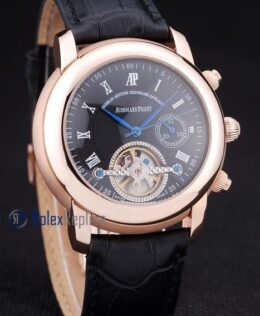 audemars piguet replica chrono tourbillon rose gold strip leather imitazione copia