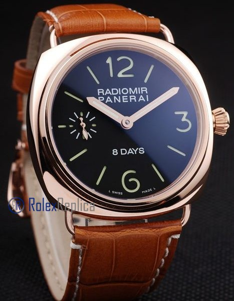 Panerai replica radiomir 8 days oro strip leather imitazione copia