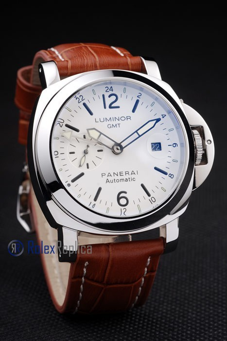 Panerai replica luminor GMT acciaio white dial strip leather imitazione copia