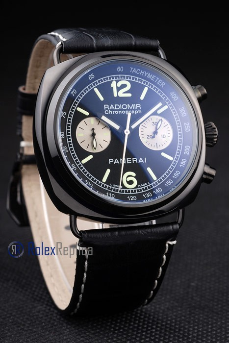 Panerai replica radiomir chronograph dial panda pro-hunter pvd strip leather imitazione copia