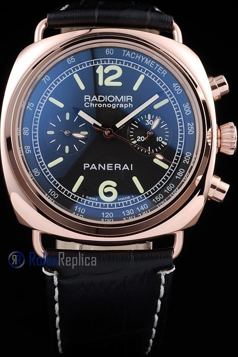 Panerai replica radiomir chronograph rose gold strip leather black imitazione copia