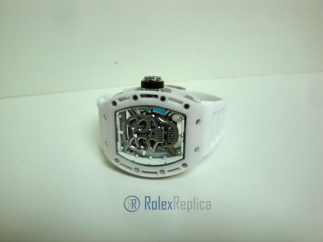 richard mille replica skull nano ceramic RM052 skeletron white edition strip rubber-b