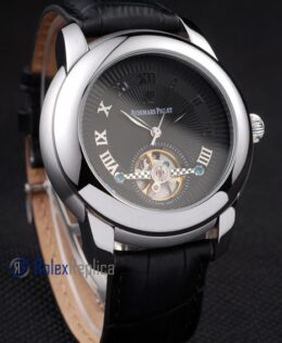 audemars piguet replica chrono acciaio black tourbillon strip leather imitazione copia