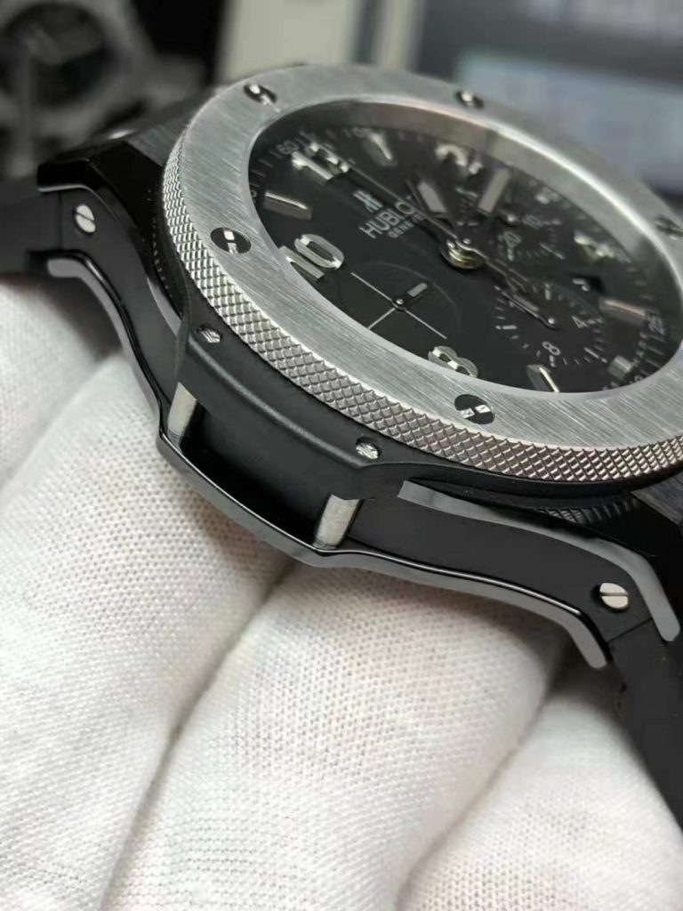 HUBLOT REPLICA BIG BANG CERAMIC WATCH WITH TITANIUM BEZEL CLONE HUB4100 MOVEMENT