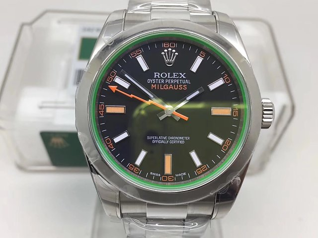 REPLICA ROLEX MILGAUSS 116400GV 904L STEEL CASE WITH SUPER CLONE 3131 MOVEMENT