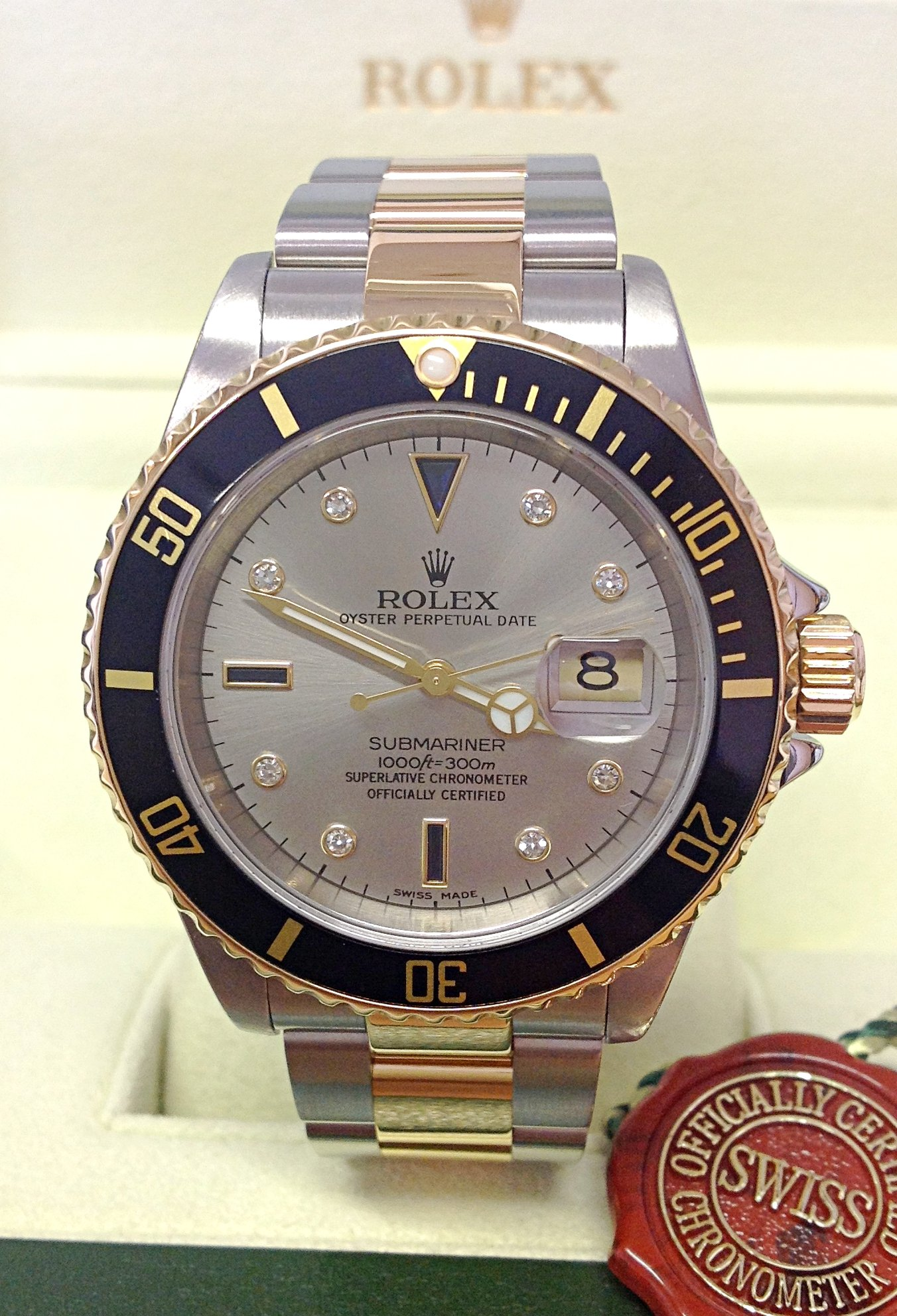 Rolex replica Submariner Date 16613 Bi-Colour Serti black dial