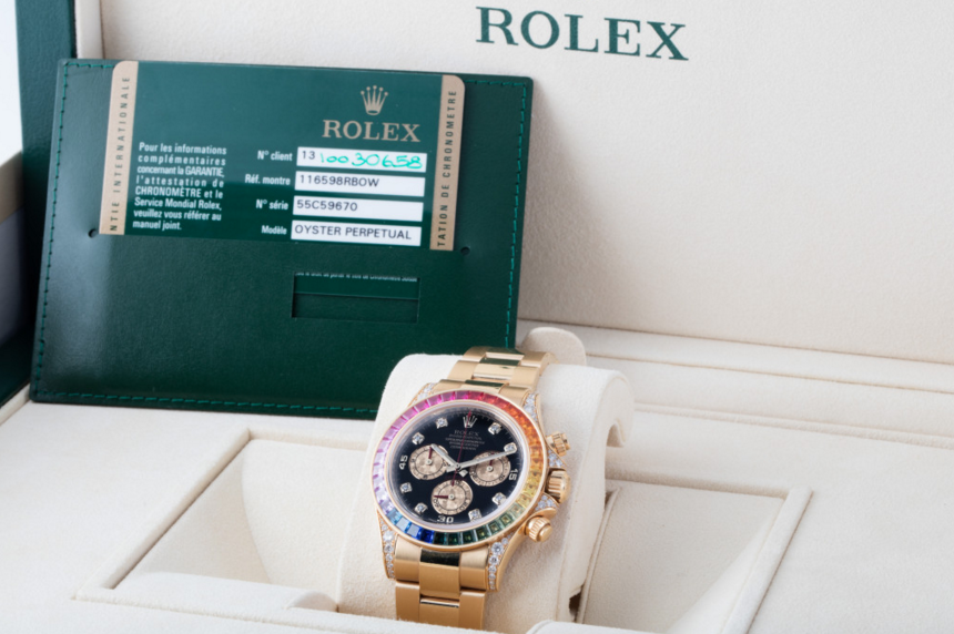 rolex replica daytona rainbow full diamonds oro giallo orologio replica