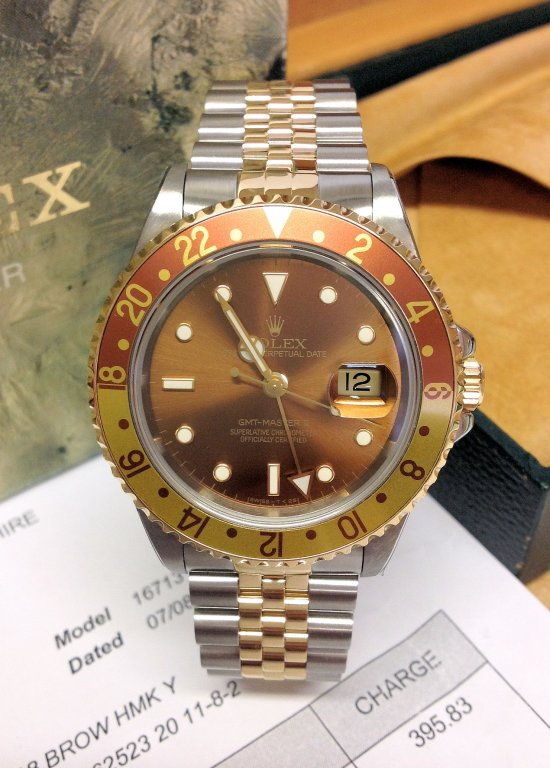 rolex replica GMT master II 16713 Root Beer / Tigers Eye occhio di tigre