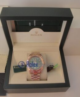 rolex replica daydate rose gold green dial orologio replica copia imitazione